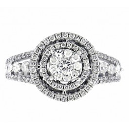 0.90ct Round Cut Halo Diamond Engagement Ring in 14K White Gold