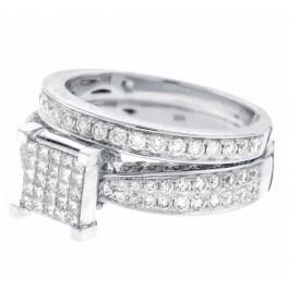 1.90cttw Princess Cut Diamond Bridal Ring Set 14K White Gold