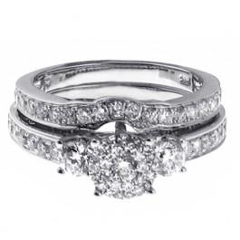 1.65ct Round Cut Three-Stone Diamond Engagement Ring Set 14K White Gold