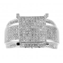 0.90cttw Round Cut Cluster Diamond Engagement Ring in 14K White Gold