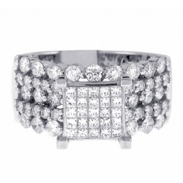 2.25cttw Princess Cut Diamond Solitaire with Accents Engagement Ring in 14K White Gold