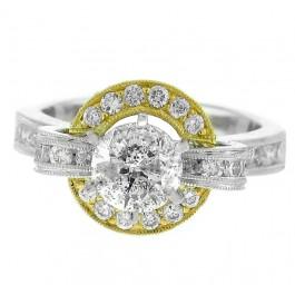 2.23ct Round Cut Diamond Halo Engagement Ring 18K WG