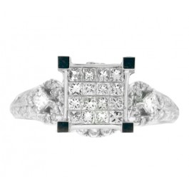 1.30cttw Princess Cut Diamond Engagement Ring in 14K White Gold