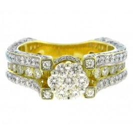 3.25cttw Round Cut Diamond Engagement Ring in 14K Yellow Gold
