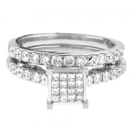 1.25cttw Princess Cut Diamond Bridal Ring Set 14K White Gold