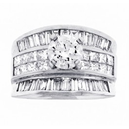 4.43cttw Round Cut Center Diamond Cocktail Engagement Ring in 18K White Gold