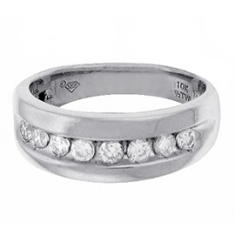 0.65ct Round Brilliant Cut Diamond Wedding Band in 10K White Gold