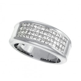 Princess Cut Diamond Men's Wedding Band in 14K White Gold