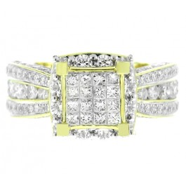 4.38cttw Princess Cut Halo Diamond Engagement Ring in 14K Yellow Gold