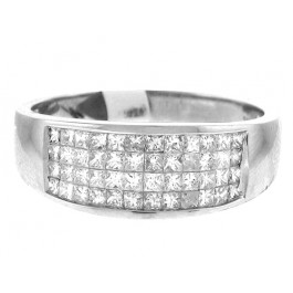 Princess Cut Diamond Wedding Band in 14K White Gold