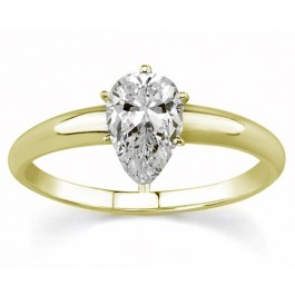 0.50Ct  Pear Shape Solitaire Diamond Engagement Ring set in 14K Yellow Gold