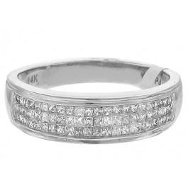 Princess Cut Diamond Wedding Band in 14K White Gold