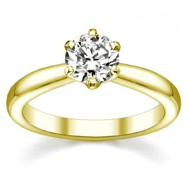 1.00Ct Round Cut Solitaire Diamond Engagement Ring set in 14K Yellow Gold