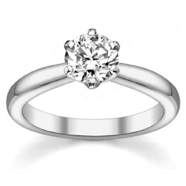 1.00Ct Round Cut Solitaire Diamond Engagement Ring set in 14K White Gold