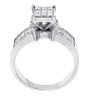 1 50 ct princess cut cluster engagement ring in