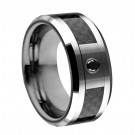 Tungsten Carbide Ring with 0.08ct Black Diamond in 6mm Black Carbon Fiber Inlay