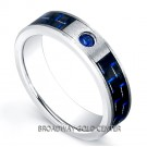 0.08ct Blue Sapphire with Blue & Black Carbon Fiber Inlay Tungsten Carbide Ring in 6mm