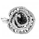 1.25Ct Round Cut Diamond Flower Ring in Black Rhodium & 14k White Gold