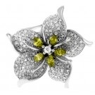 1.25Ct Canary Yellow Marquise Cut Diamond Flower Ring in 14K White Gold