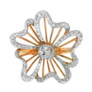 0.34Ct  Round Cut Diamond Flower Ring in 14K Rose Gold