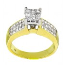 Princess Cut Cluster Diamond Engagement Ring in 14KT Yellow Gold