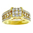 Princess & Round Cut Diamond Engagement Ring in 14KT Yellow Gold