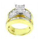 Princess Cluster Solitaire with Accent Diamond Engagement Ring in 14KT Yellow Gold