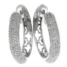0.85cttw Round Cut Diamond White Gold Huggie Earrings