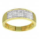 Mens' Princess Cut Diamond Wedding Band in 14kt Yellow Gold