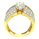 Round Cut Solitaire with Accent Diamond Engagement Ring in 14KT Yellow Gold