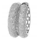 1.92cttw Round Cut Diamond White Gold Huggie Earrings