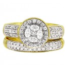 2 pc. Marquise & Round Cut Halo Diamond Engagement Ring & Band in 14KT Yellow Gold