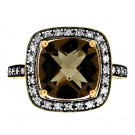 4.04cttw Smoke Topaz & Round Cut Diamond Ring in 14Kt Rose Gold