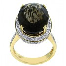 14.49 cttw Smoke Topaz & Round Cut Halo Diamond Ring in 14Kt Yellow Gold