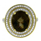 5.44 cttw Smoke Topaz & Round Cut Halo Diamond Ring in 14Kt Yellow Gold