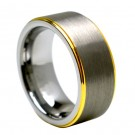 Tungsten Carbide Ring Yellow Gold Plated Edge 8mm