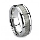 Tungsten Carbide with Grey Carbon Fiber Inlay Low Beveled Edge